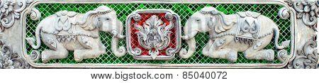 Two Elephant Stucco sculpture