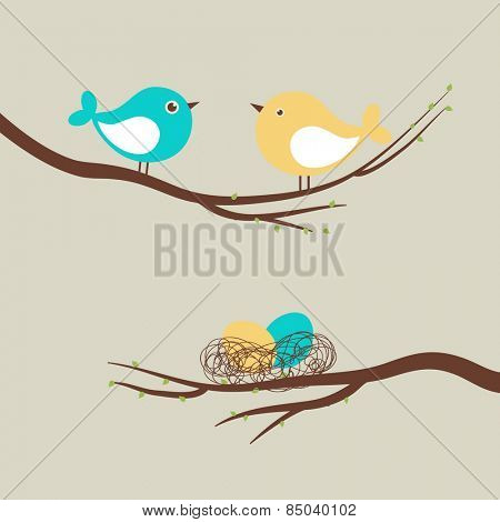 Two cute birds and eggs in the nest/ Vector easter card