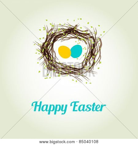 Easter card with two cute birds egg in the nest