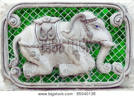 Elephant stucco sculpture