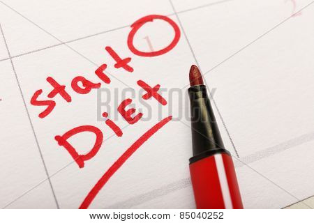 Written plan Start Diet on calendar page background