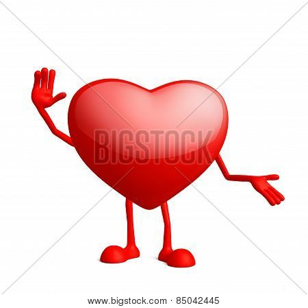 Heart Character With Saying Hi Pose