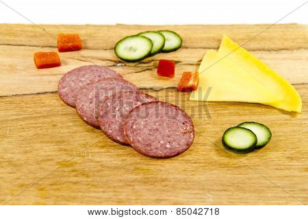 Fresh Salami and Cheese with Cucumbers and Capsicum