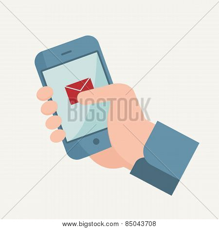 Hand Touching Smart Phone With Message Or Sms
