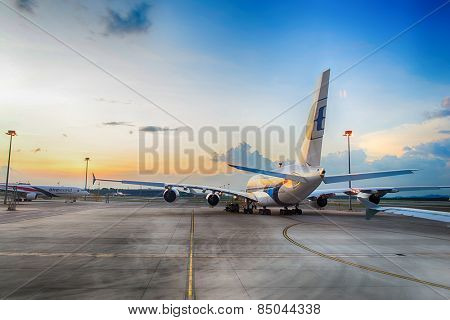 KUALA-LUMPUR - MAY 06: Airbus A380 in the airport on May 06, 2014 in Kuala-Lumpur, Malaysia. Malaysia Airlines is the flag carrier of Malaysia and a member of the Oneworld airline alliance