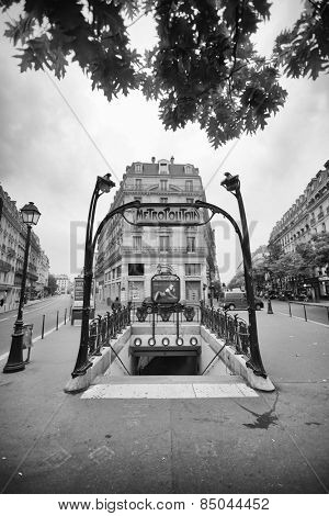 PARIS - SEPTEMBER 05, 2014: Paris Metropolitain entrance. The Paris Metro or Metropolitain is a rapid transit system in the Paris Metropolitan Area