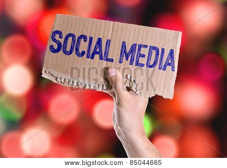 Social Media card with colorful background with defocused lights