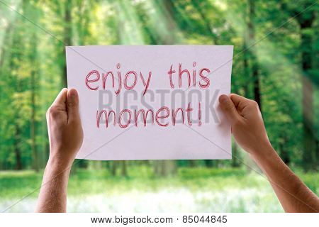 Enjoy this Moment card with nature background