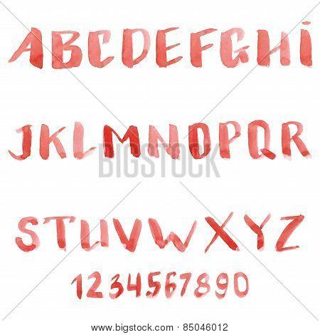 set of watercolor handwriting font