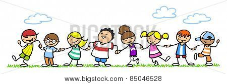 Many happy children holding hands in nature in summer