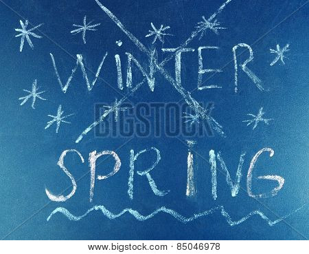 Goodbye Winter hello Spring written on board