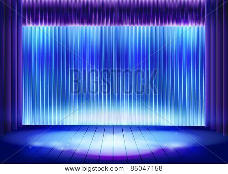 Curtain before the performance. Vector illustration.