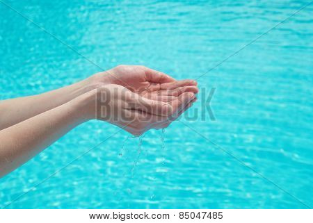 Human Hands With Water