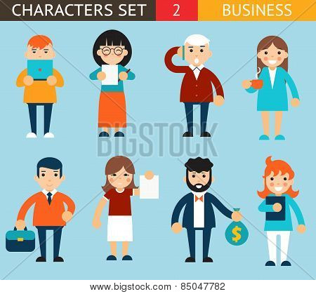 Business Male and Female Characters with Accessories Expressions Icons Set Flat Design Concept Vecto