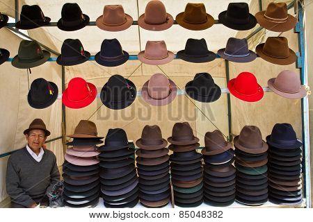 hats in in Saquisili street market, Ecuador