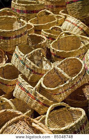 baskets in Saquisili street market, Ecuador