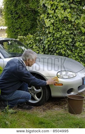 Man Washing Sports Car