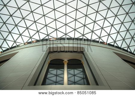 LONDON, UK - NOVEMBER 30, 2014: British museum interior of main hall with library building in inner