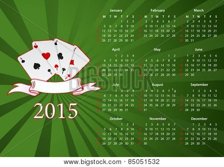 Vector American calendar 2015 starting from Sundays with cards over green background