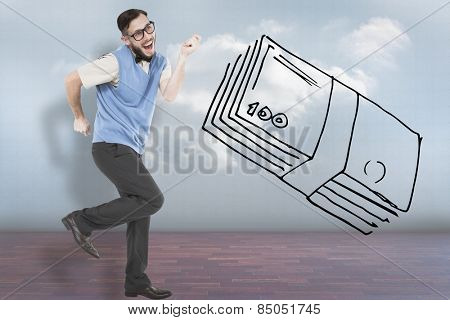 Geeky hipster dancing and smiling against clouds in a room