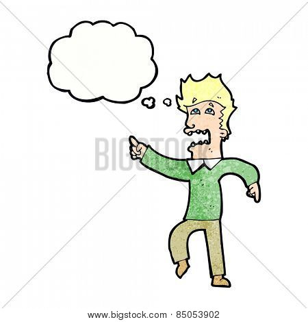 cartoon frightened man pointing with thought bubble