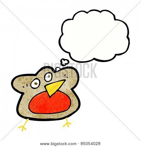 funny cartoon robin with thought bubble