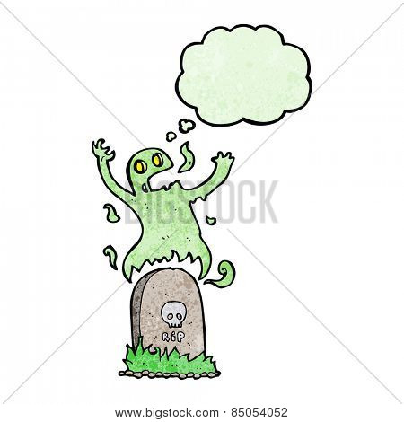 cartoon ghost rising from grave with thought bubble