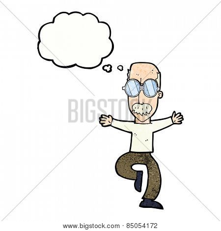 cartoon old man wearing big glasses with thought bubble