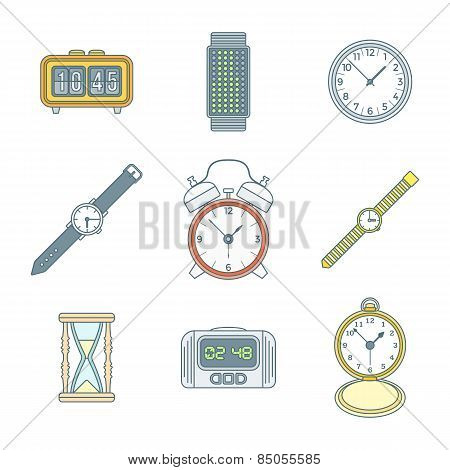Colored Outline Various Watches Clocks Icons Set