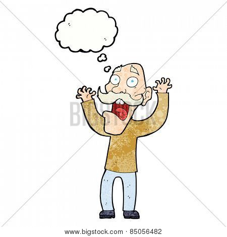 cartoon old man getting a fright with thought bubble