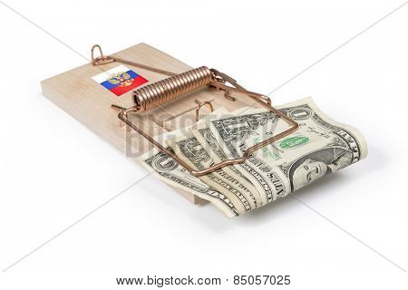 Russian mouse trap with dollar bills isolated over white with clipping path.