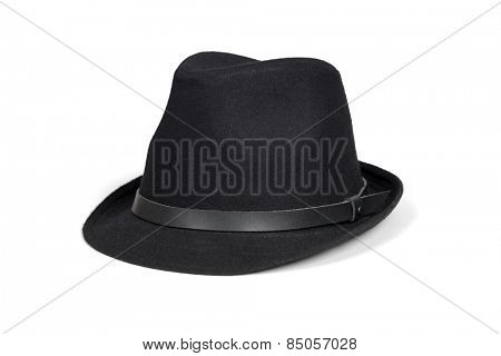 Black fashion hat isolated on white with clipping path.