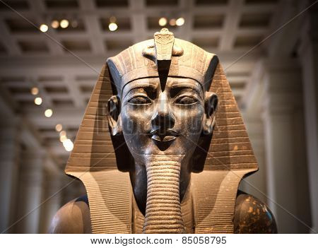 LONDON, UK - NOVEMBER 30, 2014: British museum Egyptian sculpture hall, Pharaoh Rameses
