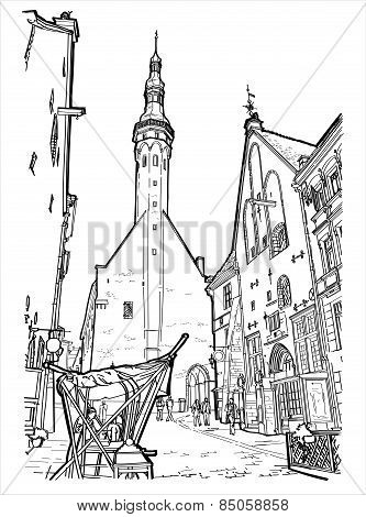 Vector illustration of street in Tallin.