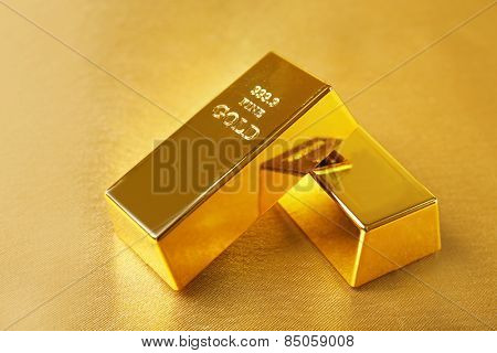 Gold bars on table close-up