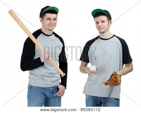 Two handsome young men with bat and glove for baseball isolated on white