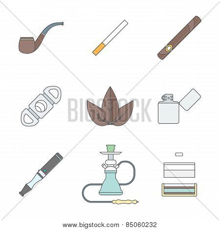Colored Outline Various Tobacco Goods Tools Icons Set