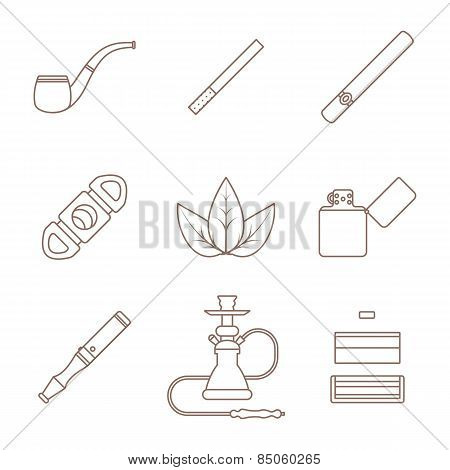 Dark Outline Various Tobacco Goods Tools Icons Set