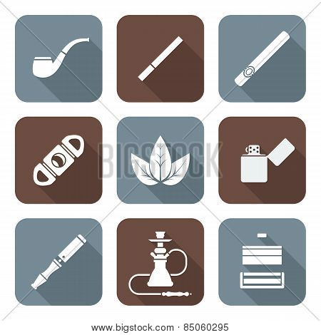 White Color Flat Style Various Tobacco Goods Tools Icons Set