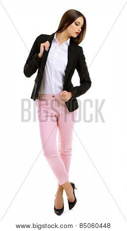 Beautiful model in white shirt, pink pats and black jacket isolated on white