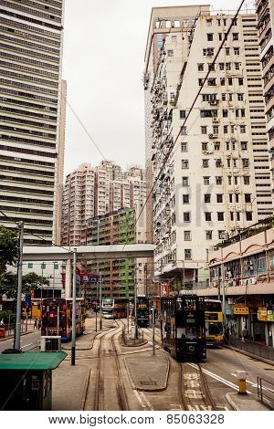 City trams in Hong Kong