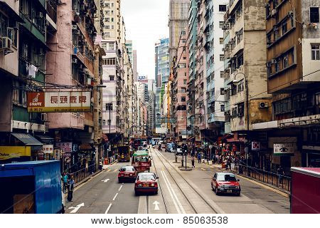 City trams in Hong Kong