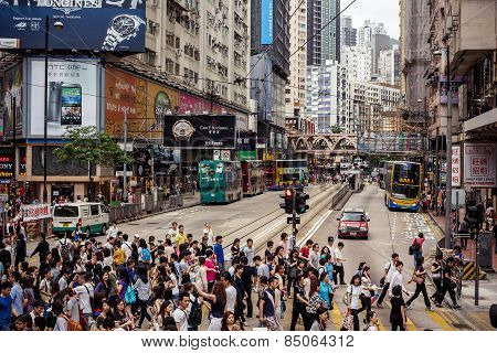 Busy people on street of Hong Kong