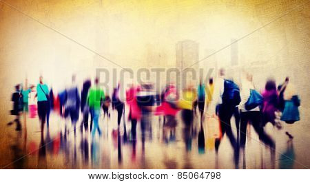 Casual People Rush Hour Walking Commuting City Concept