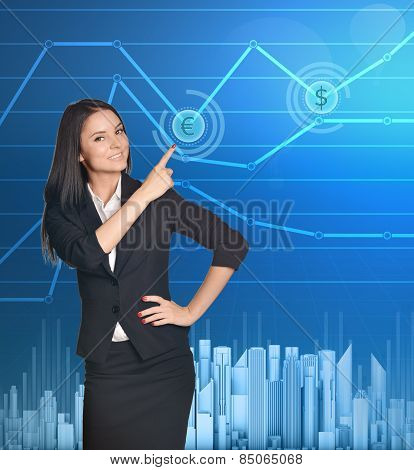 Business woman showing index finger on icon of euro