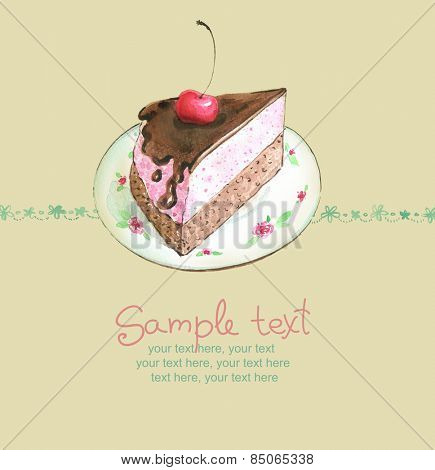card with painted watercolor chocolate cake with cherry