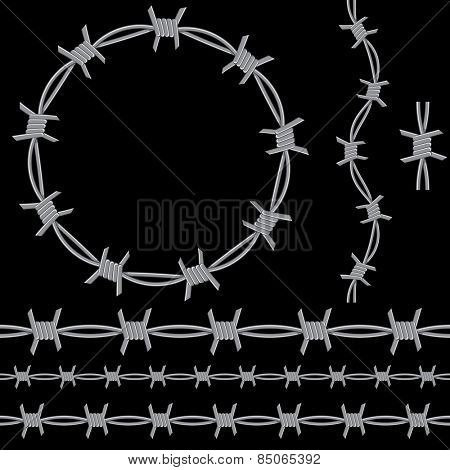 An image of a barbed wire icon set.