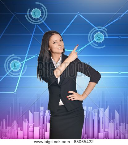 Business woman showing index finger on icon of dollar