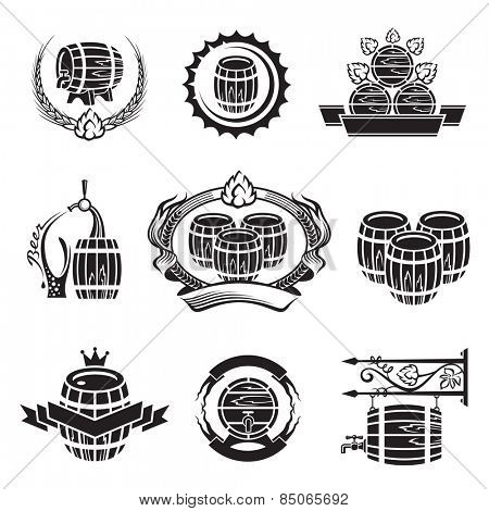 monochrome set of barrel icons