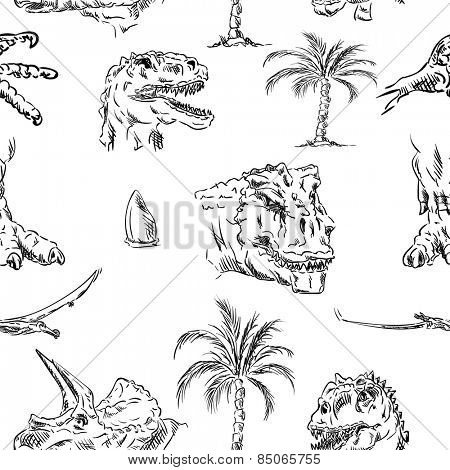 vector - pattern of dino head, hand draw, isolated on background